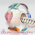 Love charm glass beads in 925 silver single core