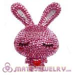 Cute 3D Bling Crystal Long Ears Love Rabbit Absorbable Doll For iPhone Cases